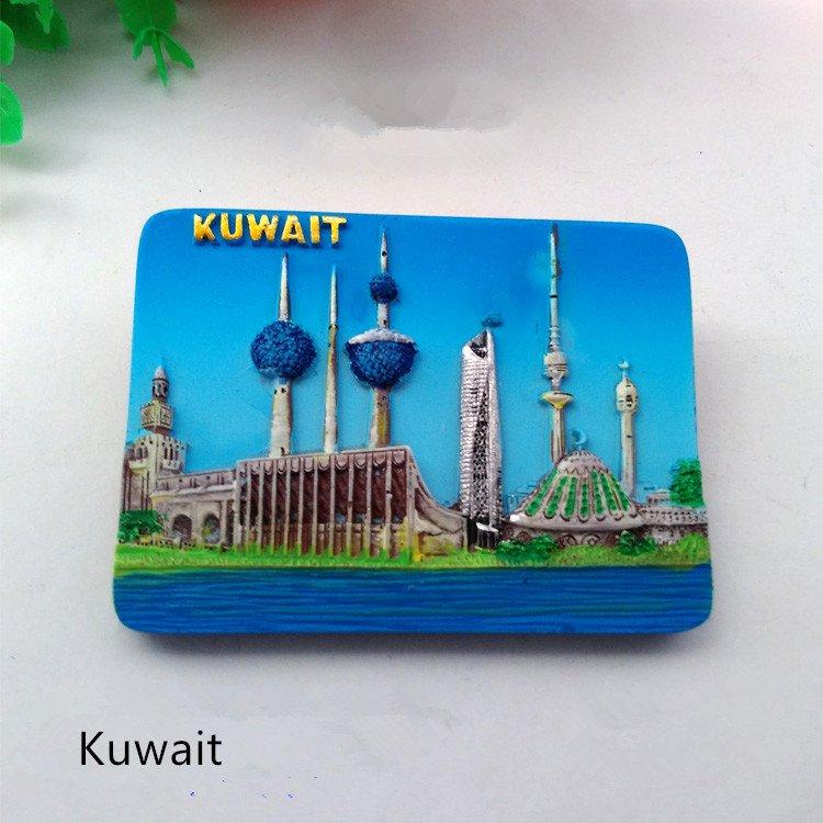 3D Resin World Tourism Souvenir Fridge Magnet - Kuwait