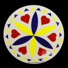 "Love Romance Yellow Barn Star 8"" Hex Sign German Amish Good Luck"