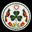"Irish Distelfink Bird Shamrock Clover Good Luck 16"" Hex Sign Amish Folk Art"