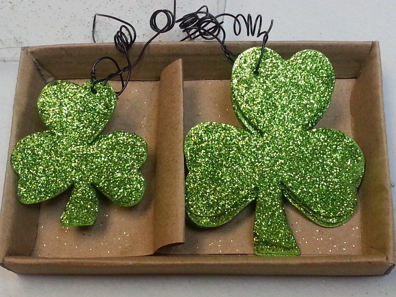 Shamrock Tin Glitter Ornaments Set St Patrick Day Irish Holiday Decor Primitive By Kathy