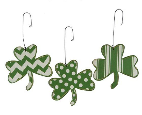 Shamrock Wood Ornaments Set St Patrick Day Irish Art Deco Holiday Decor Primitive By Kathy