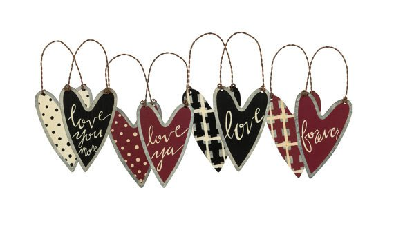 Rustic Tin Heart Ornaments Set Valentine Day Wedding Art Deco Holiday Decor Primitive By Kathy