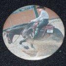 Bay reining horse, sliding stop photo, badge, pin H 0009