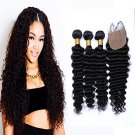 7A Grade Unpressed Brazilian Deep Wave With Closure Brazilian Curly Virgin Hair Bundles