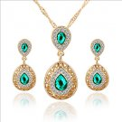 Lucky Doll Women's All Matching Luxury Gem Rose Gold Plated Zirconia Water Drop Necklace & Earrings
