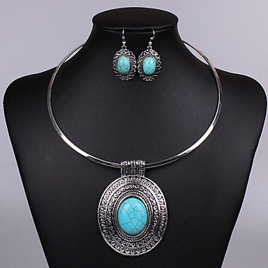 Women Vintage/Party/Work/Casual Alloy/Gemstone & Crystal Necklace/Earrings Sets