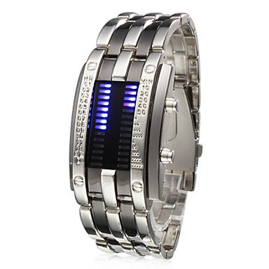 Men�s Watch Faceless Watch Blue LED Digit Watch Calendar Steel Band Cool Watch