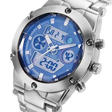 NEW Military Mens Sport Wrist Watch Quartz LCD Digtal Dual Time Chronograph Alarm Steel Waterproof