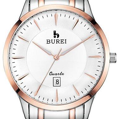 BUREI ® Men�s Brand Stainless Steel Business Watch with Calendar Function Fashion Quartz Sapphire