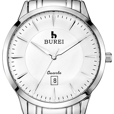 BUREI ® Men�s Brand Stainless Steel Business Watch with Calendar Function Fashion Quartz Sapphire