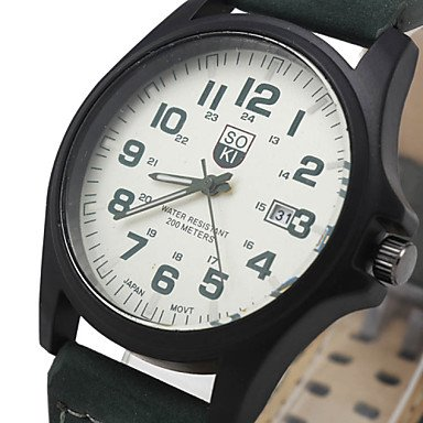 Fashion Leisure Men�s Watch Calendar Leather Black Brown Band Cool Watch Unique Watch #02892719