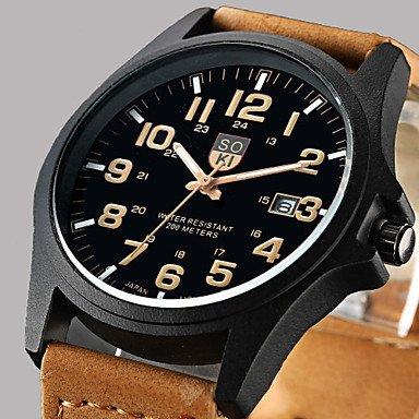 Fashion Leisure Men�s Watch Calendar Leather Black Brown Band Cool Watch Unique Watch #02892719