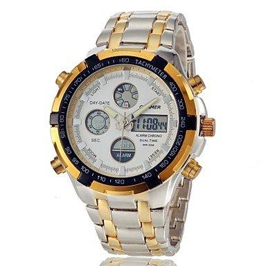 Men�s Multifunctional Analog-Digital Full Steel Band Wrist Watch (Assorted Colors)