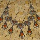 Orange Necklace - Silver Orange Necklace - Orange beads necklace - Orange jewel