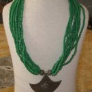 Green necklace-silver necklace with green stone-Green silver strands necklace