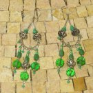 Bohemian Earrings, Filigree Silver Earrings, Green Dangle earrings, Belly dance earrings