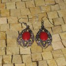 Red earrings - silver Red earrings - Red dangle earrings - Long red earrings