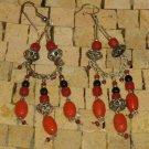Red Orange Dangle Long Earrings - Long Dangle Earrings - Orange Drop Earrings
