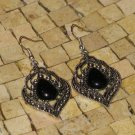 Black earrings - Black silver earrings -Black dangle earrings -Filigrre earrings