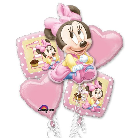 Minnie Mouse 1st Birthday Bouquet of Balloons