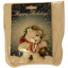 """Polar Bear with """"Real Red Bell"""" Christmas  Pennant  (New)"""