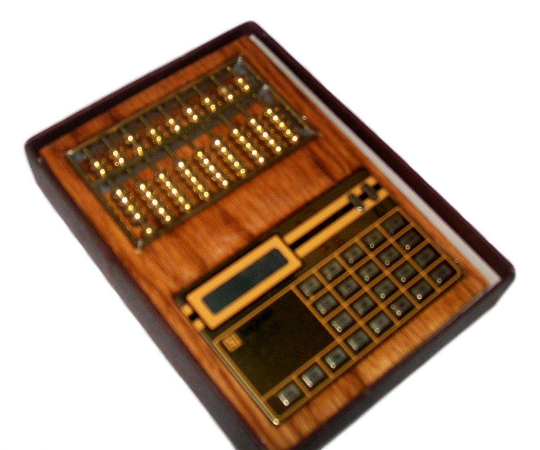 Abacus and digital calculator