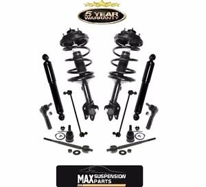 Front Strut Coil Spring Assembly & Rear Shocks & Steering Suspension Set