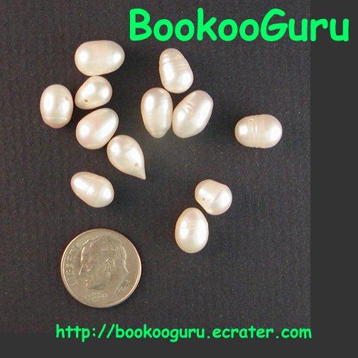Dozen Freshwater Pearls - White, Iridescent - Jewelry Creation - Artisan Supply, BooKooGuru