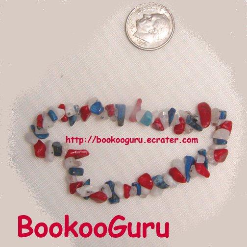 Patriotic Red, White, Blue,Gemstone Bracelet,Genuine Coral, Lapis, Artisan Handcrafted, BooKooGuru