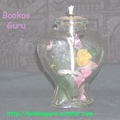 Heart Oil Candle, Glass, Floral, New, Collectible, BooKooGuru