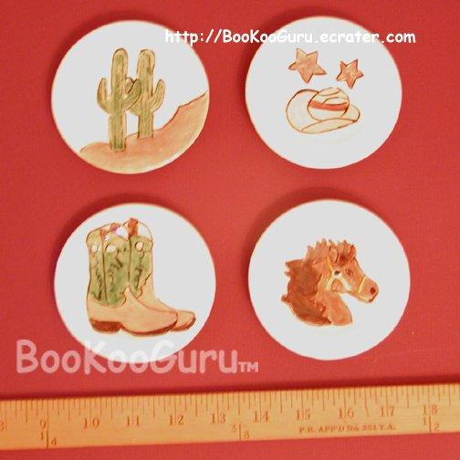 Tiny Decorative Plates, Set of 4, Hand-painted Ceramic, Cowboy Theme, Western Design, BooKooGuru