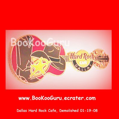 Hard Rock Cafe Dallas Texas, Red Cowboy Guitar Pin, Closed and Demolished, Rare! BooKooGuru