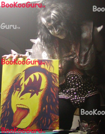 Fiery Gene, Gene Simmons, KISS, Hand-painted original, Acrylics on Canvas, 16x20, BooKooGuru