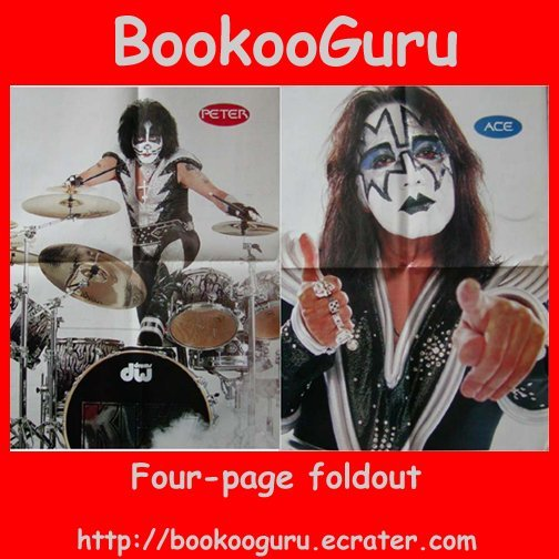 KISS (the band) 4-page foldout, Poster, Pin-up, Double sided, Ace Frehley, Peter Criss, BooKooGuru