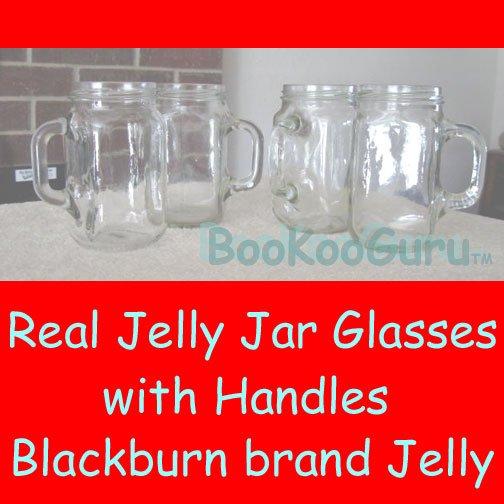 Set of Four (4) Jelly Jar Glasses, Blackburn's Brand, with Handles, Perfect, Pint, BooKooGuru