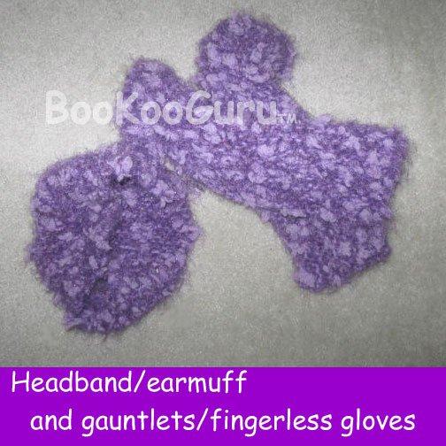 Handmade Knitted Set, Headband earmuffs and Gauntlets, Fingerless Gloves, One Size, BooKooGuru