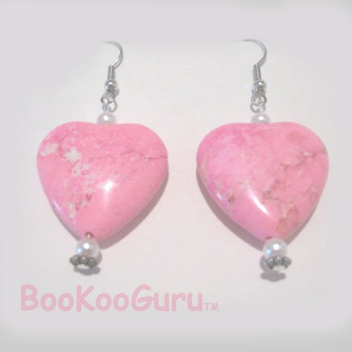 Hot Pink Hearts, Heart & Pearl, Earrings, Artisan-crafted, Original Design, Turquoise, BooKooGuru