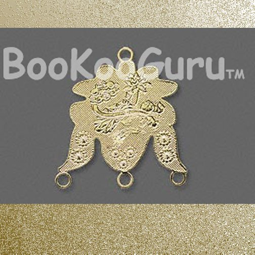 Lazer Lace, gold-plated brass, 25x22mm fancy with 1+3 loops, Focal Drop, BooKooGuru
