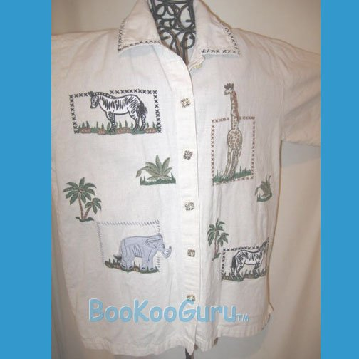 Safari Shirt, No Label, South American Style, Hand-embroidery, Cool Animals, Vintage Clothing