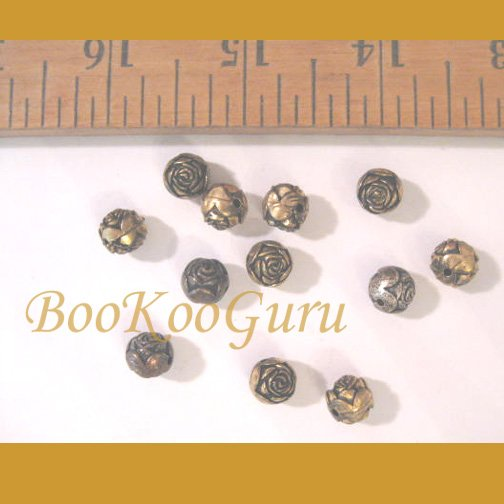 Dozen Rose Bud Beads, Combination Silver & Gold Tone, 6mm, Make Jewelry