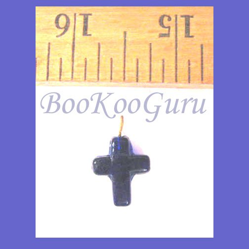 Blue Cross Fiber Optic Glass Charm, Pendant, Make Jewelry, BooKooGuru