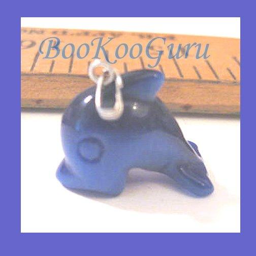 Sea Blue Whale Fiber Optic Charm or Pendant, Great Light Reflection, Make Jewelry, BooKooGuru