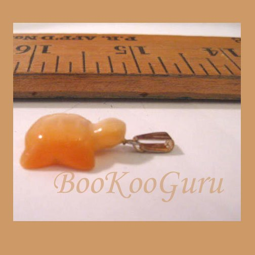Orange Turtle Charm or Pendant, Fiber Optic Glass, Cat's Eye Glass, Make Jewelry, BooKooGuru