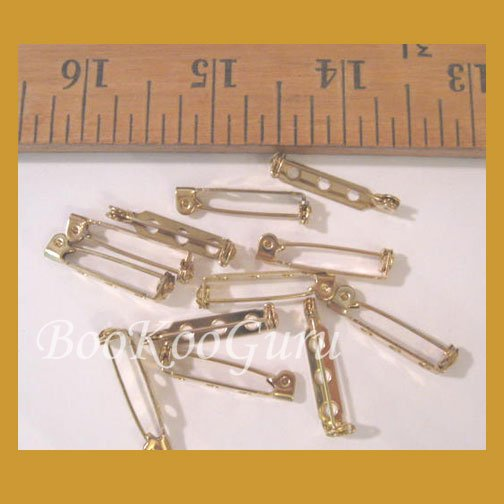 Dozen (12) Pin Backs, Gold Tone, Glue On, Vintage, Make Jewelry, BooKooGuru