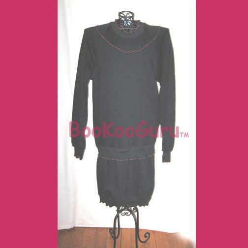 Jerzees Brand Sweatshirt Dress, Only $2, Size M, Black with Red trim, Machine Wash, BooKooGuru