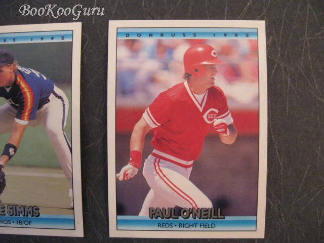 Donruss, 1992, Baseball Trading Cards, Paul O'Neill, Mike Simms, Steve Farr, Set of 3, Near Mint