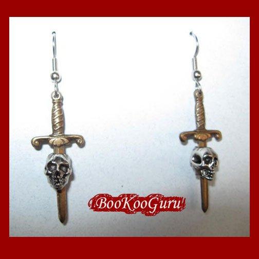 Skull and Dagger Earrings, Custom Designed, Three-dimensional