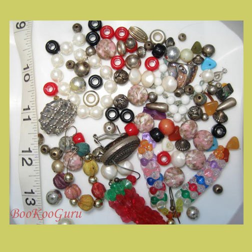 Large Bag of Assorted Beads and Findings, Some Vintage, See Photo, BooKooGuru