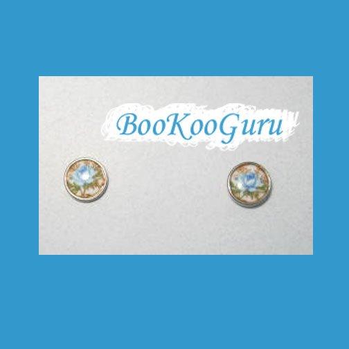 Tiny Blue Rose Earrings, Post Style, Goldtone, Rare, Vintage, Estate