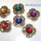 Set of 6 Vintage Button Covers, Bright Colors, Goldtone, Near mint